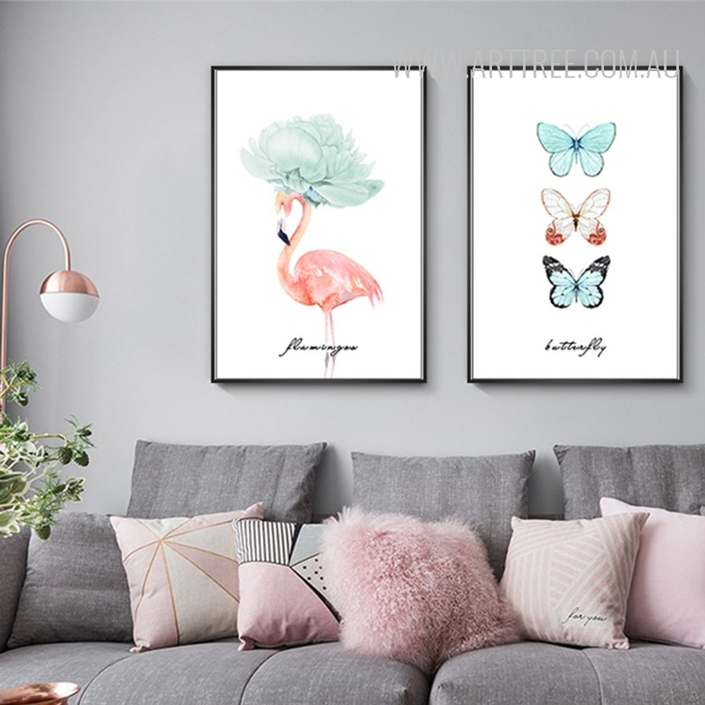 Butterfly Flamingo Bird Watercolor Art Canvas Prints