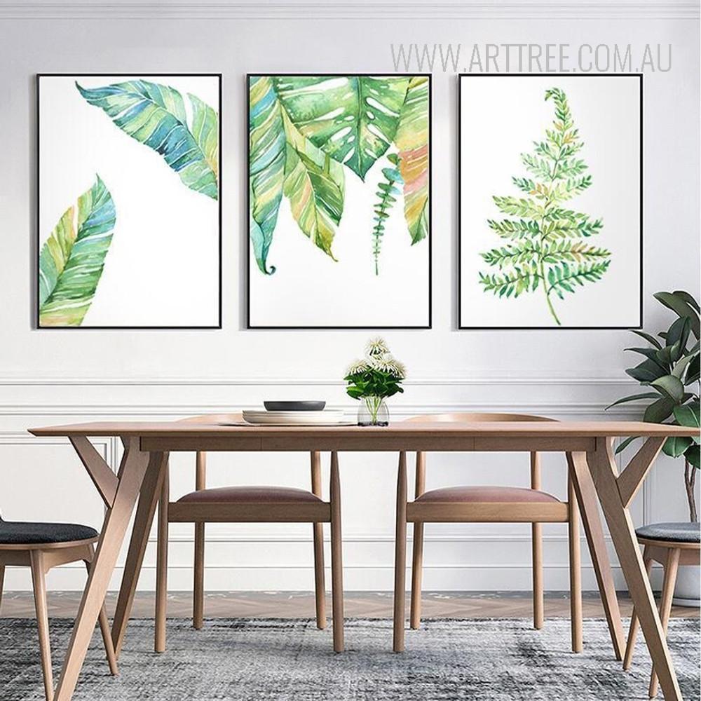 Modern Blue Green Leaf Plant Art Prints