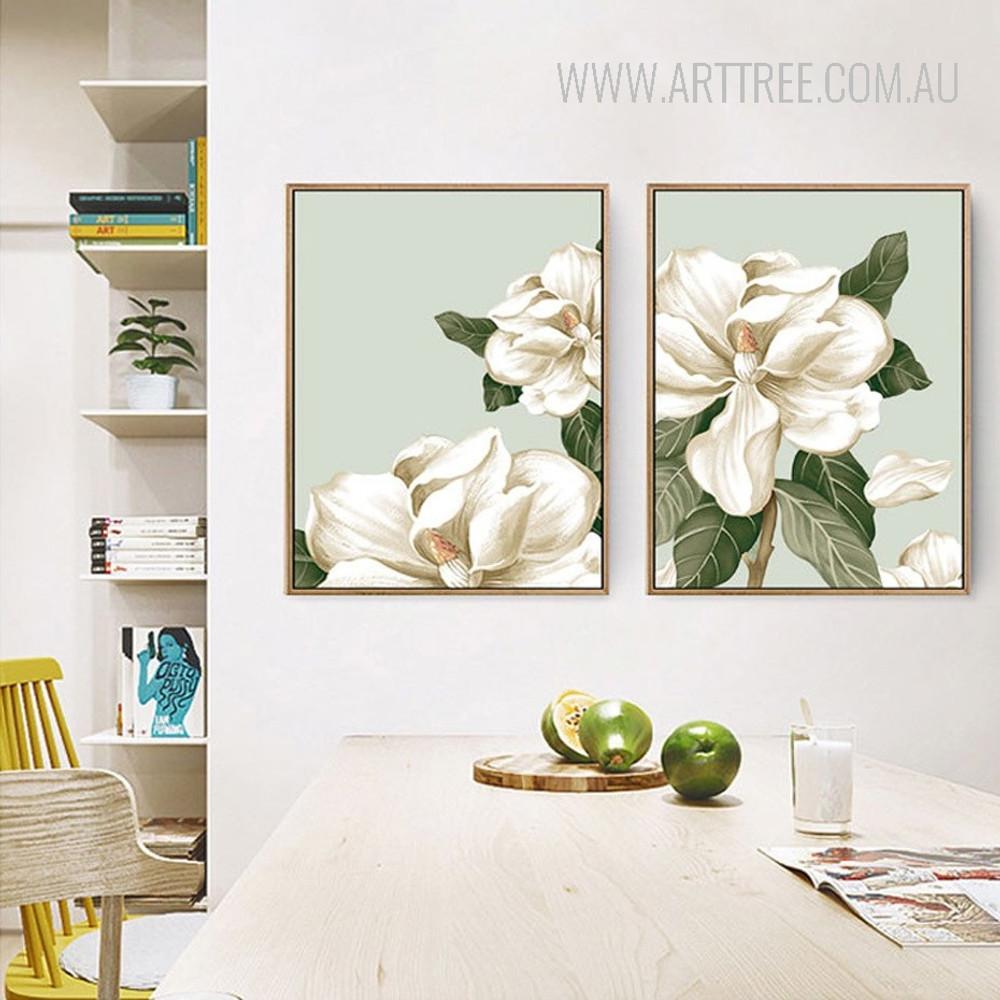 Rural Petal Magnolia Flowers Canvas Print Set