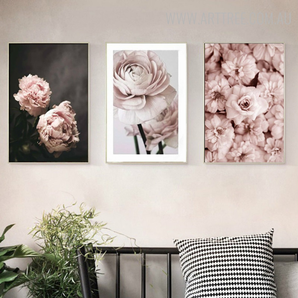 Romantic Pink Rose Floral Painting Picture Canvas Print for Room Wall Ornament