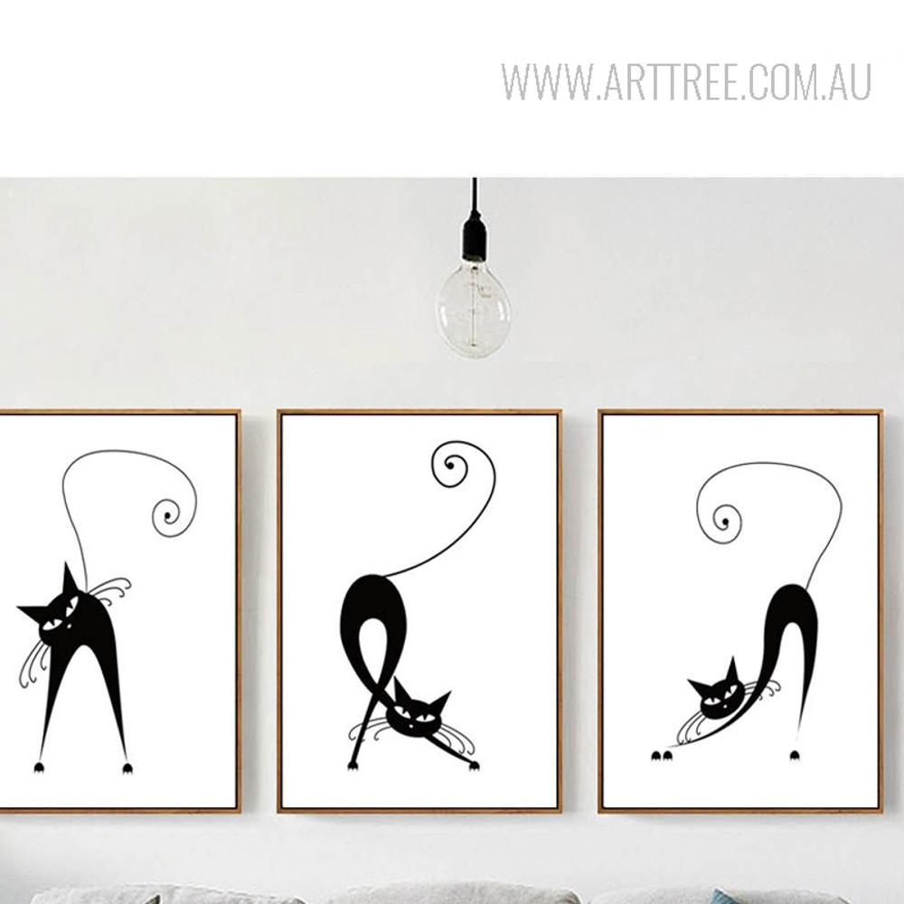 Black and White Cats Animal Art Prints