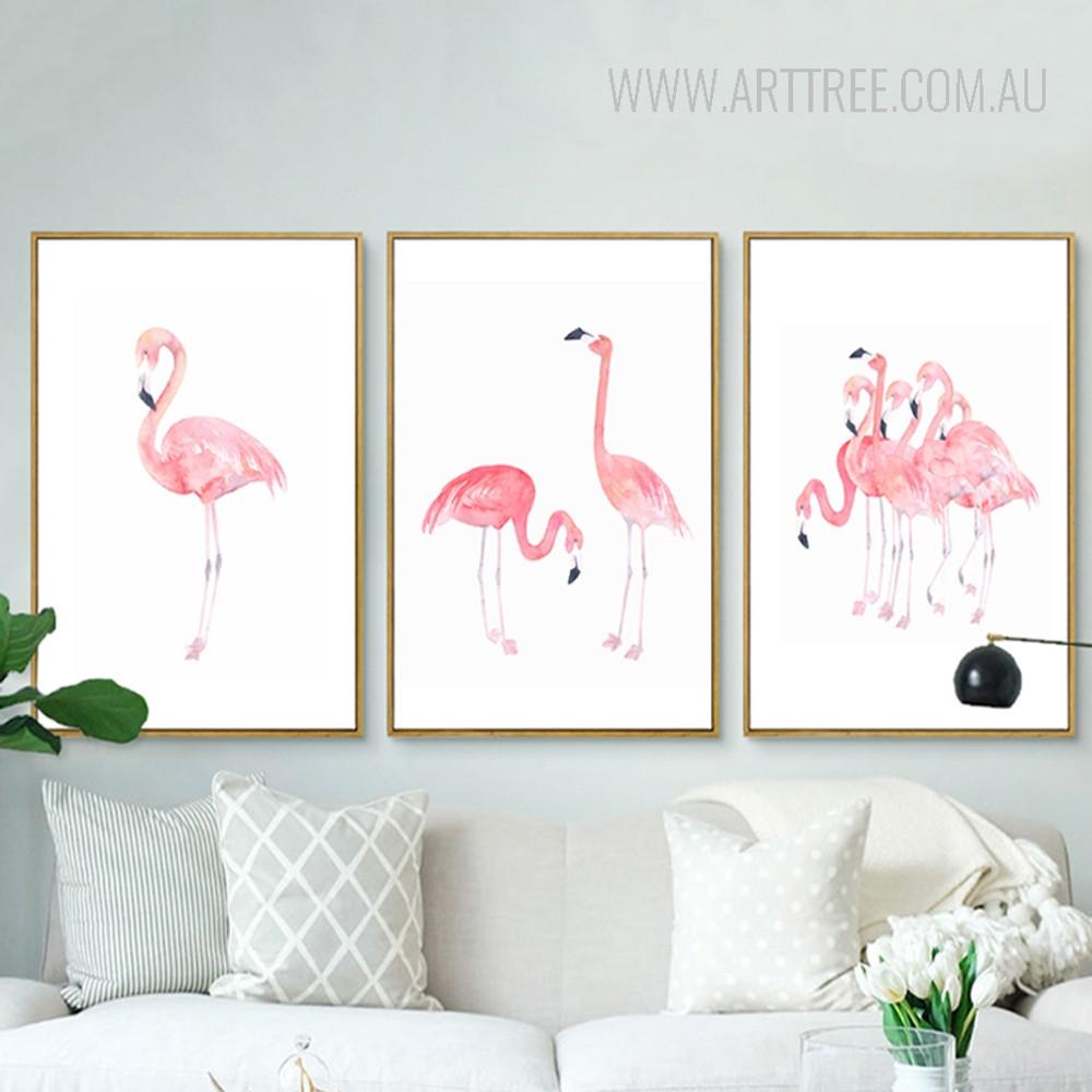 Modern Pink Flamingo Bird Set
