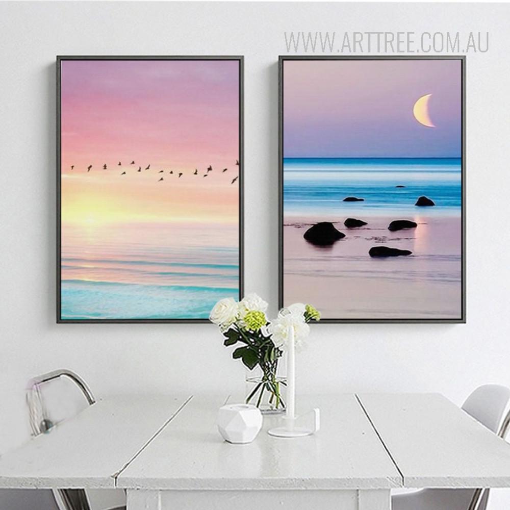 Beautiful Flamingo Bird Sunrise Sunset Landscape Art