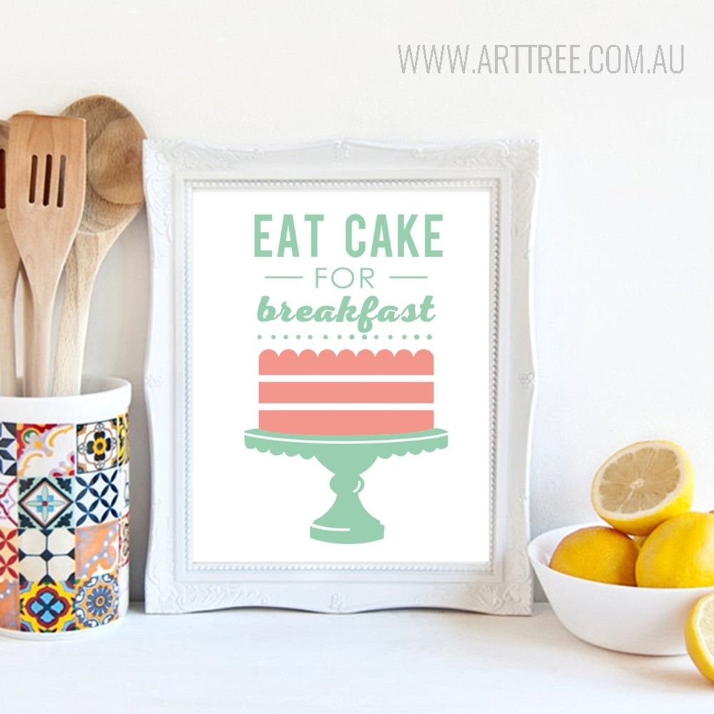 Pink Green Eat Cake for Breakfast Words Design Canvas Print