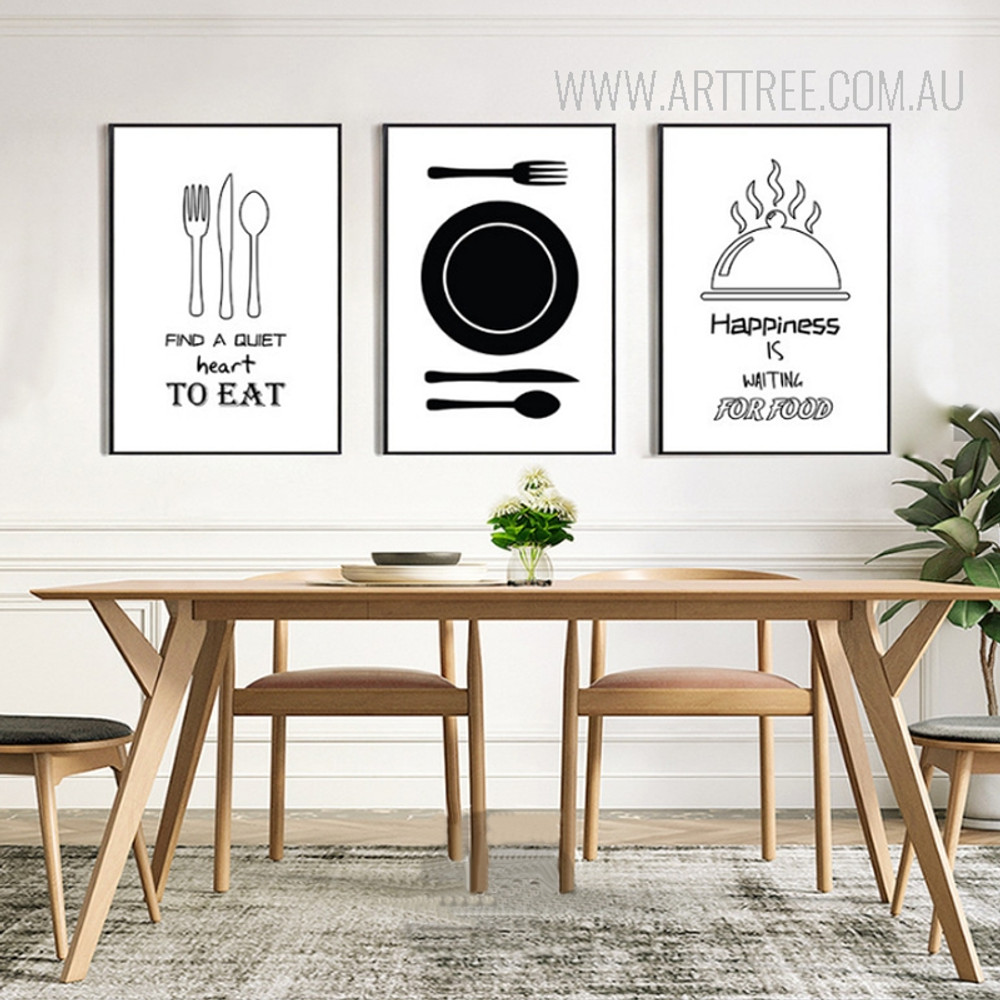 Find a quiet heart to eat happiness is waiting for food Kitchenware Quotes Prints