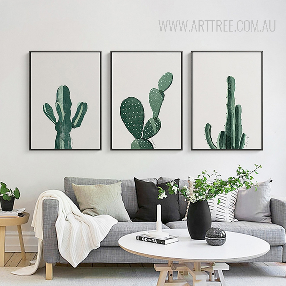 Abstract Watercolor Green Cactus Contemporary Botanical Art
