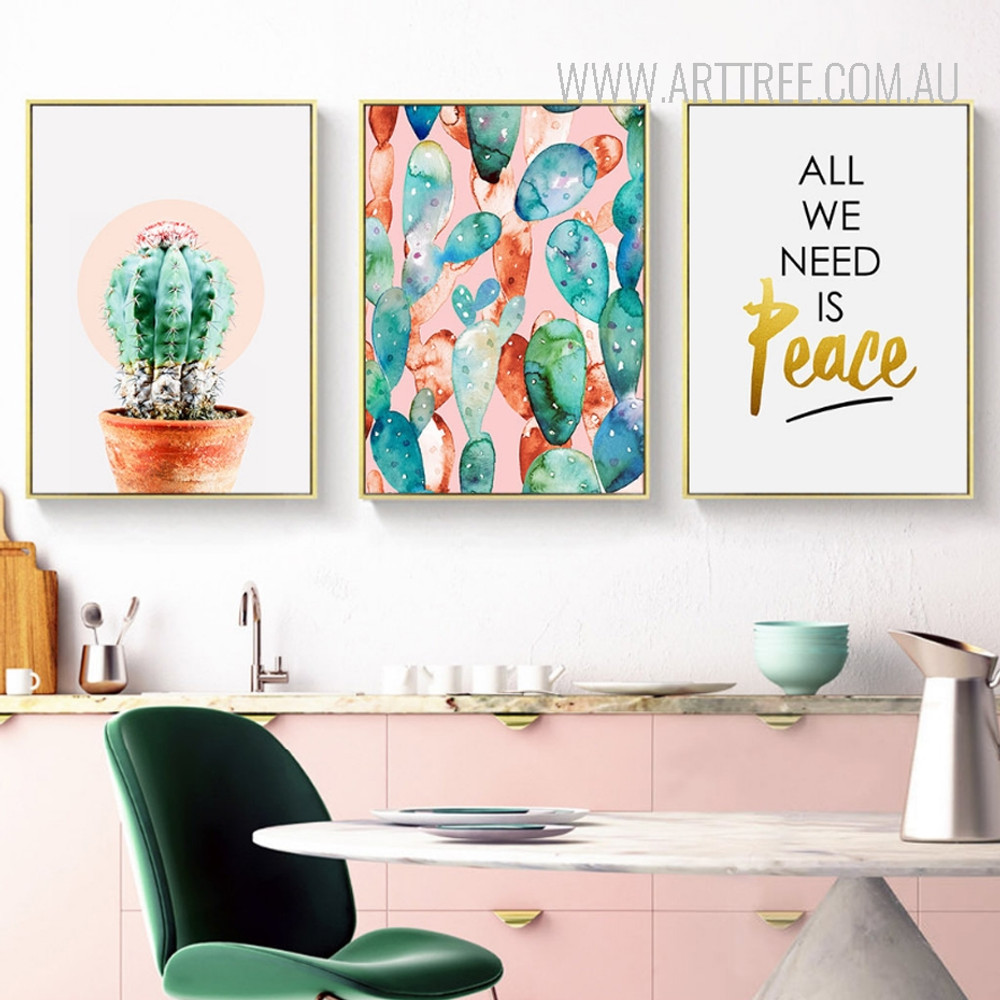 Watercolor Green Cactus Botanical Plant All We Need Is Peace Quote Canvas Prints