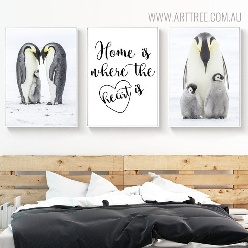 Penguins Home Bird Quotes Painting Print for Bedroom Decoration