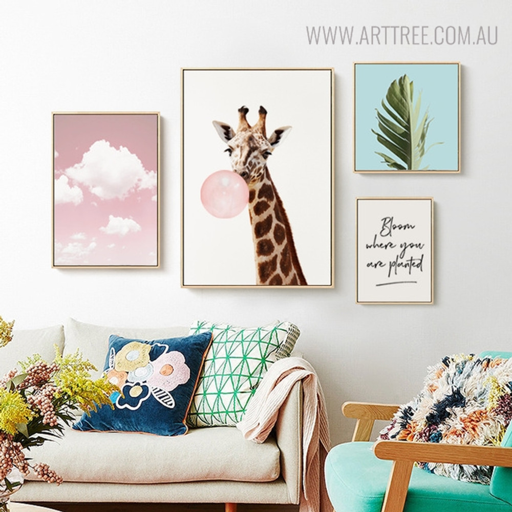 Pink Skyscape Animal Botanical Quotes Painting Print for Living Room Decor