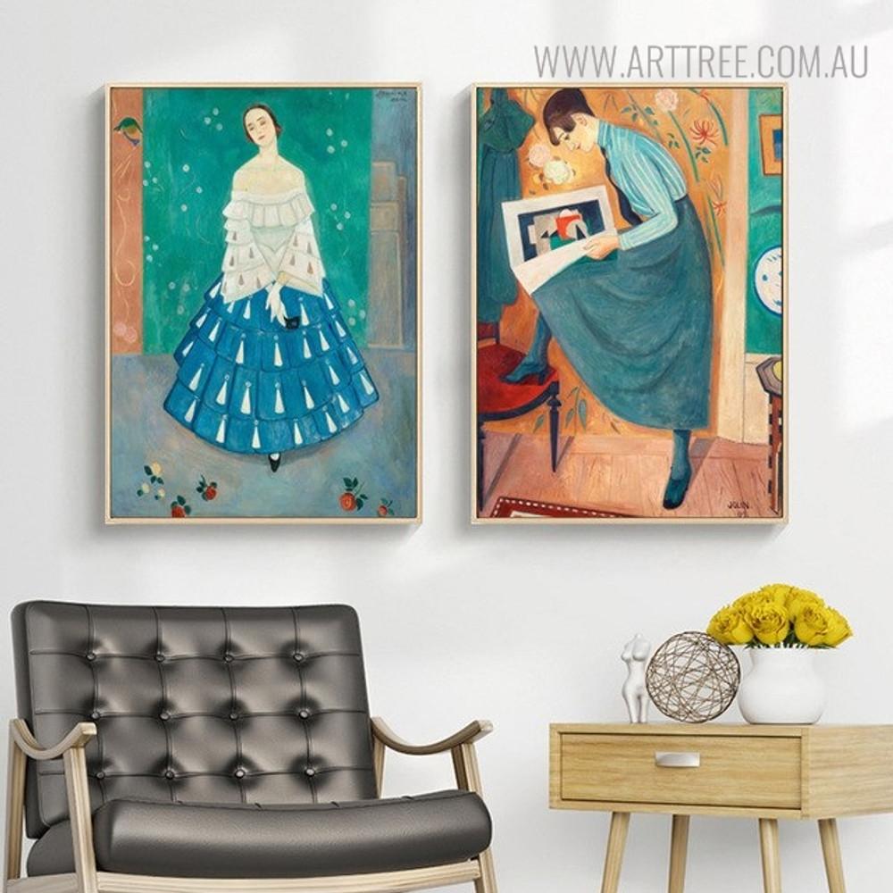 European Ladies Vintage Figure Painting Print for Living Room Ideas