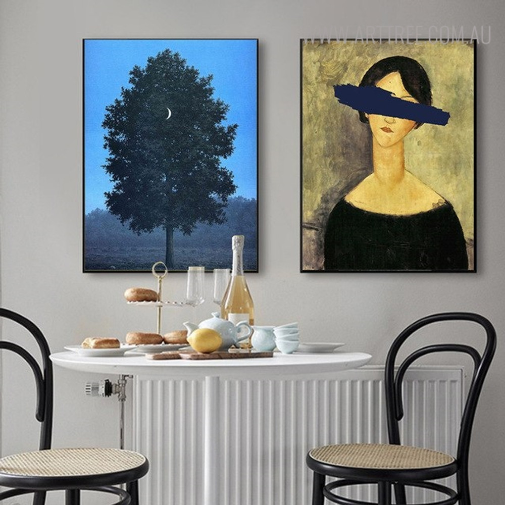 Moon Tree Botanical Abstract Figure Vintage Wall Art Print for Dining Room Decor