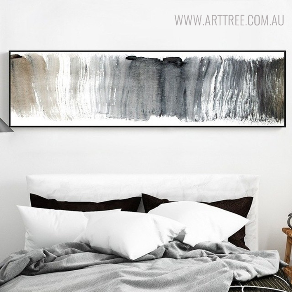 Grey Color Abstract Panoramic Painting Canvas Print for Bedroom Decoration