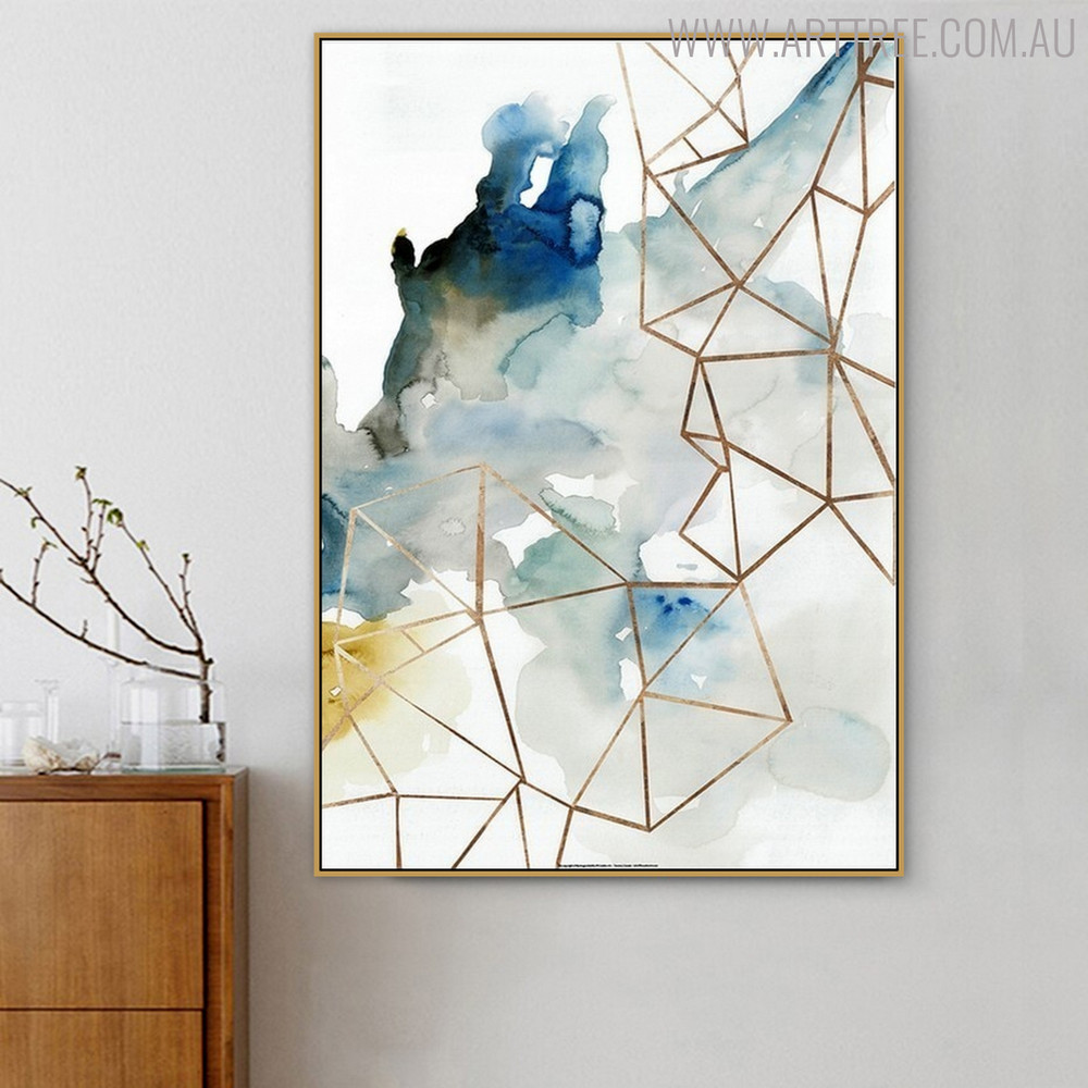 Smoke Effect Abstract Watercolor Geometric Painting Canvas Print for Living Room Decor