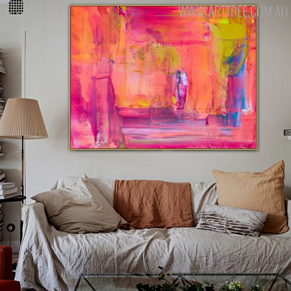 Pinkish Shade Abstract Texture Handmade Canvas Portraiture for Living Room Wall Outfit
