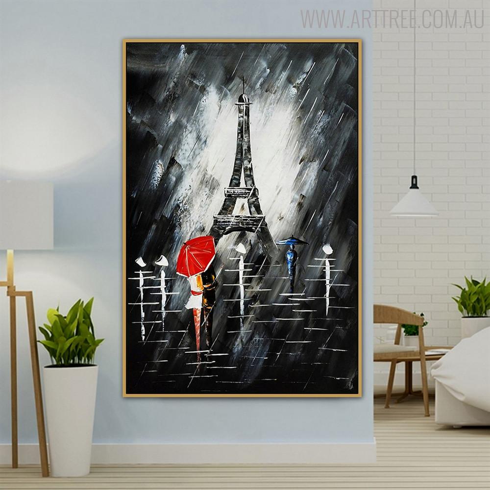 Eiffel Tower Night Modern Cityscape Texture Knife Effigy for Wall Getup