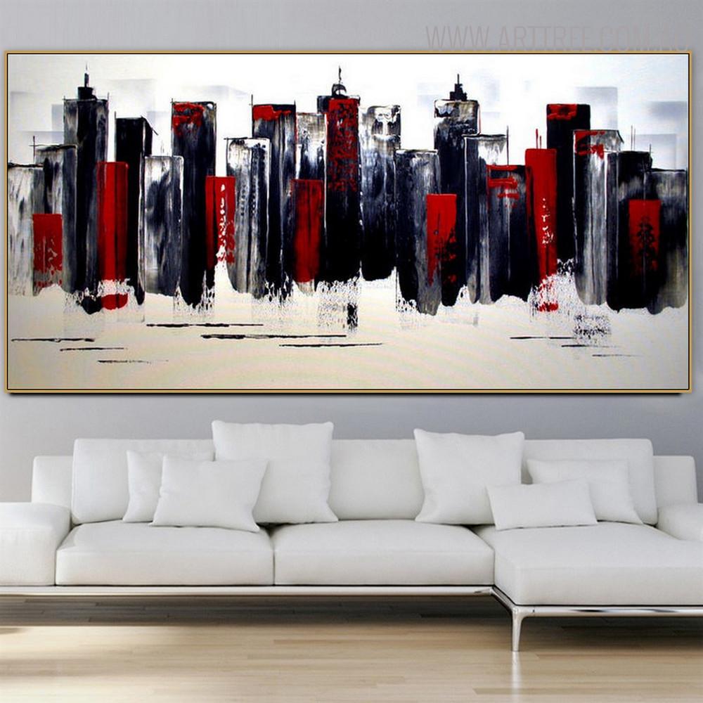 Edifices Cityscape Heavy Texture Knife Artwork for Interior Wall Decoration