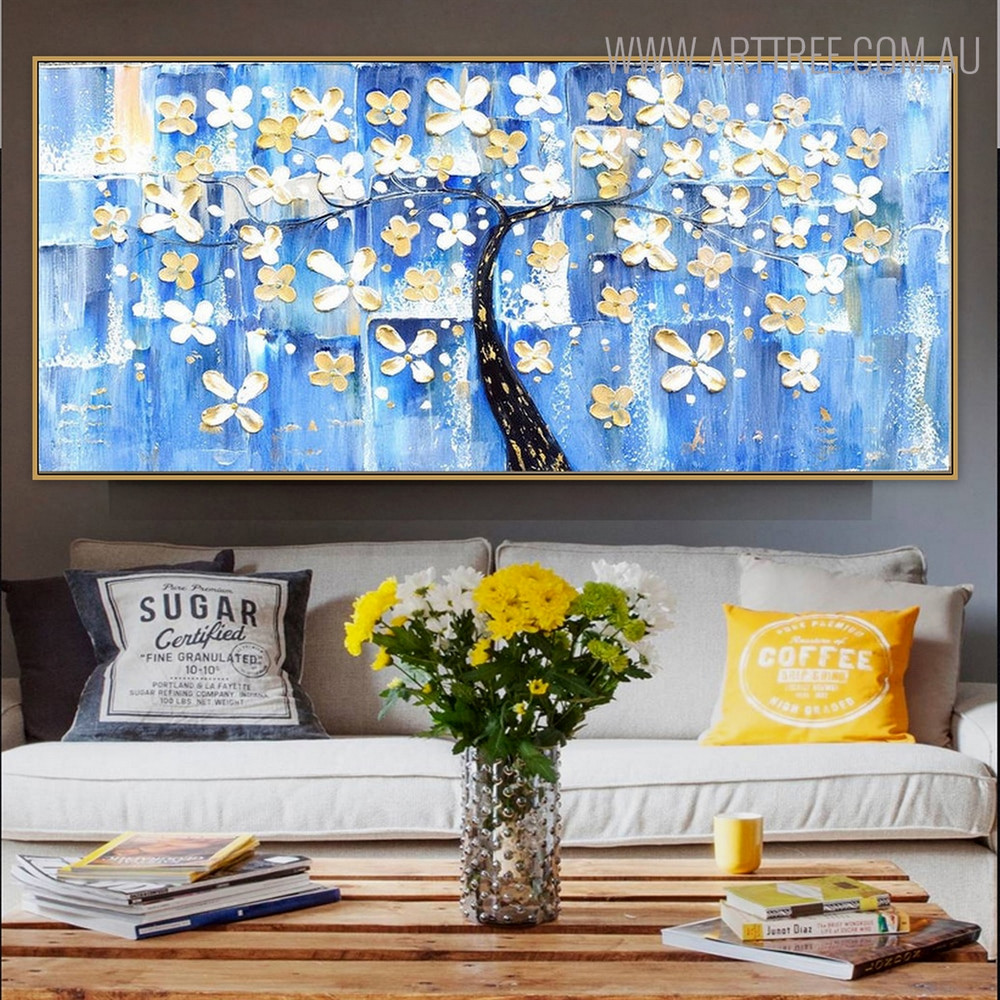 Colorific Tree Framed Floral Palette Knife Painting for Room Wall Onlay