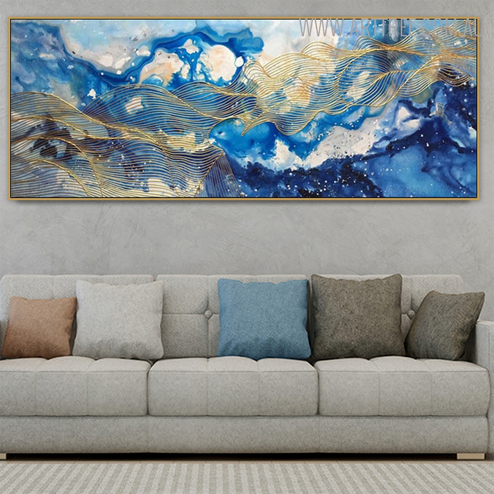 Golden Waves Abstract Modern Bold Texture Handmade Canvas Portrayal for Living Room Wall Onlay