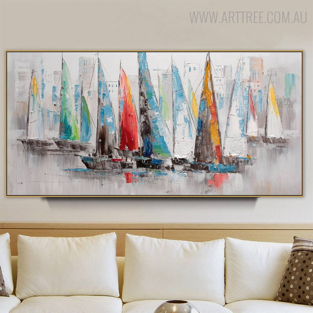 Hued Sailboats Modern Abstract Cityscape Heavy Texture Handmade Canvas Portrayal for Room Wall Molding