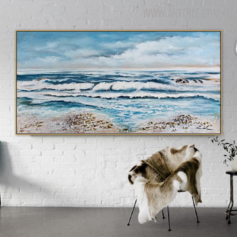Profound Modern Seascape Handmade Oil Smudge for Wall Getup