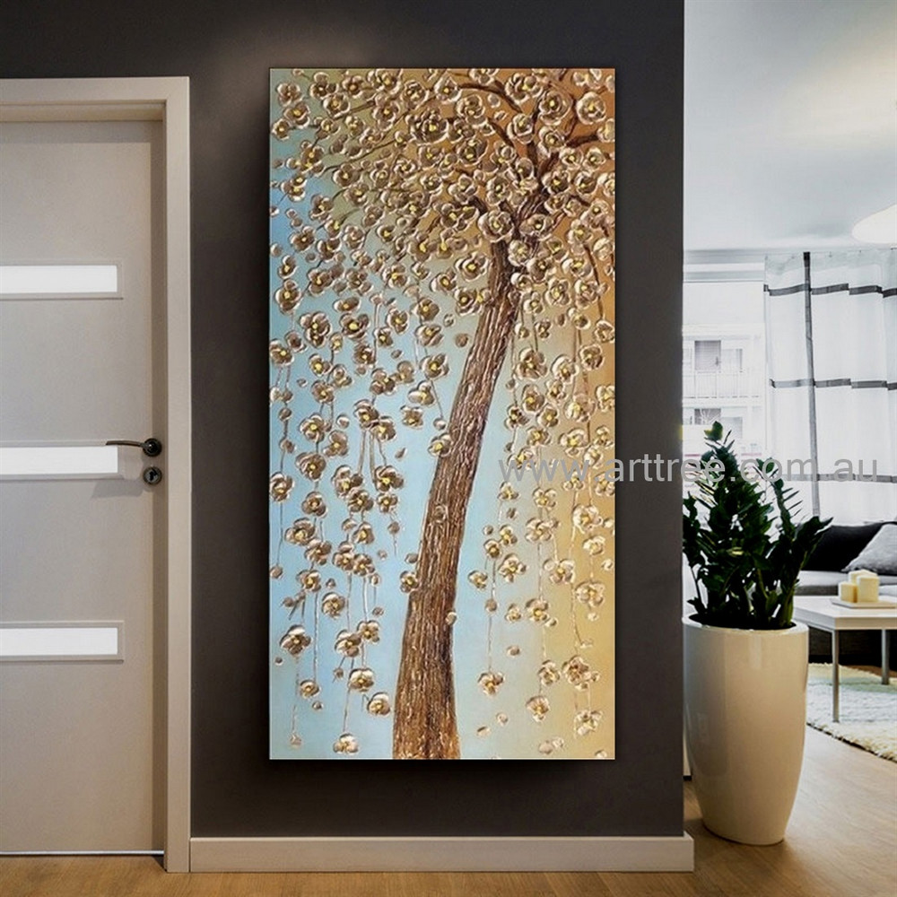 Floweret Tree Botanical Handmade Artist Modern Abstract Palette Knife Acrylic Floral Wall Art For Room Disposition