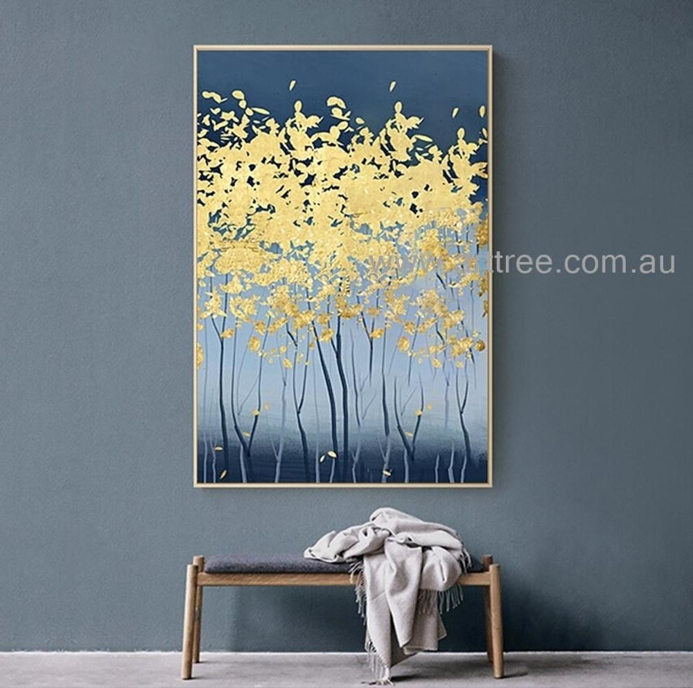 Gilding Trees Abstract Botanical Heavy Texture Artist Handmade Modern Painting For Room Garnish