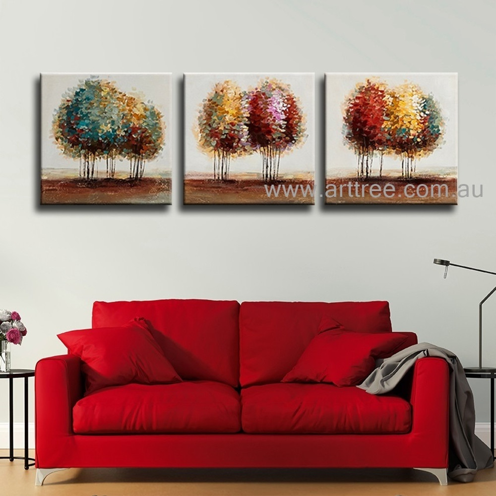 Colorful Trees Botanical Heavy Texture Contemporary Artist Handmade 3 Piece Acrylic Abstract Canvas Art Set For Room Ornamentation