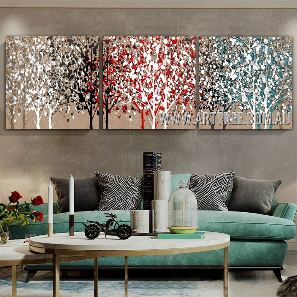 Calico Trees Abstract Contemporary Handmade 3 Piece Split Panel Canvas Wall Art Set For Room Wall Decor