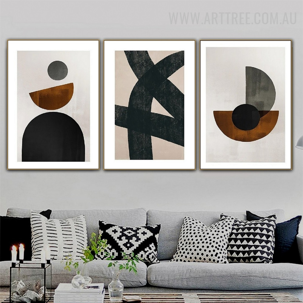 Curved Contour Lines 3 Piece Abstract Geometrical Drawing Retro Art Photograph Canvas Print for Room Wall Illumination