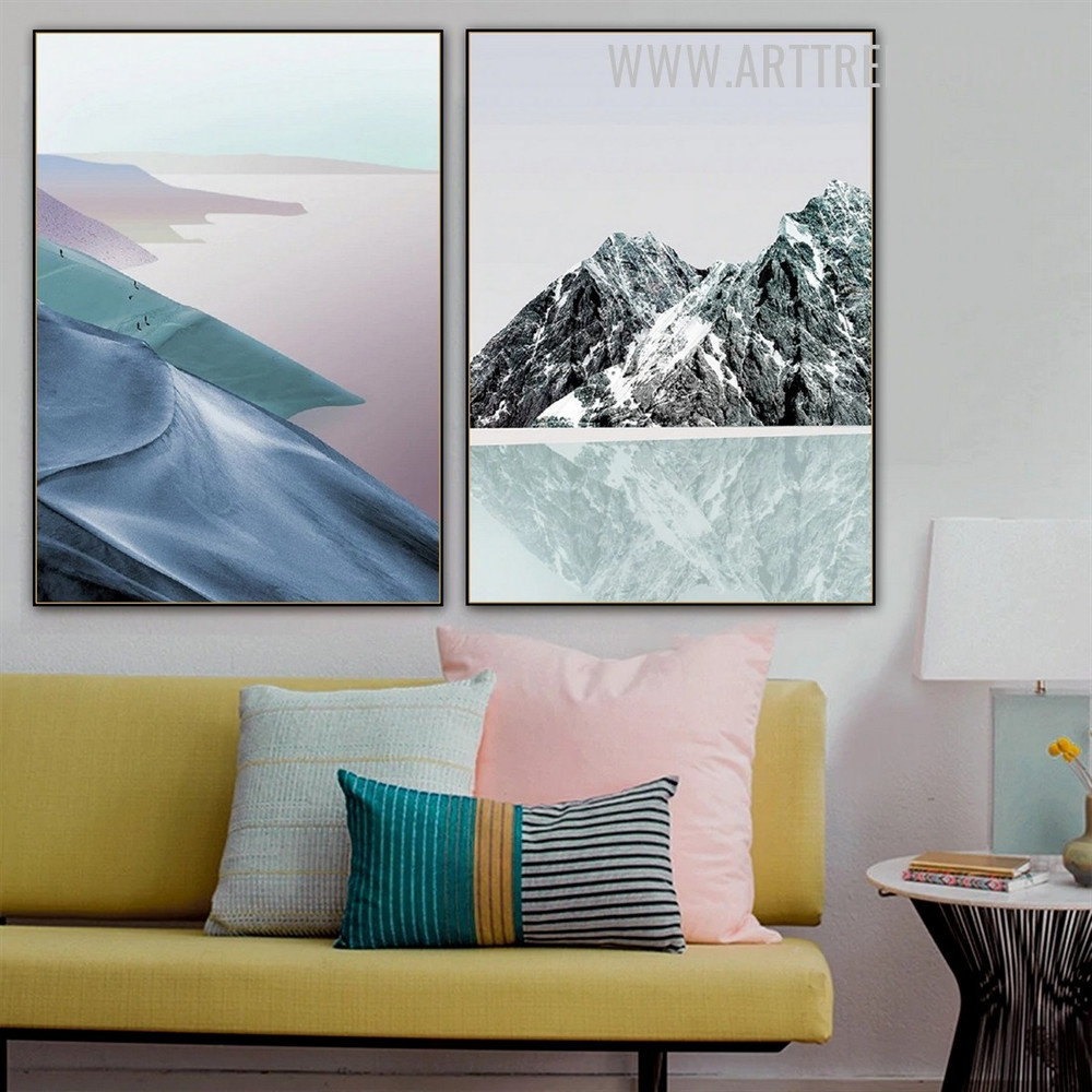Snow Mount Sand Abstract 2 Piece Naturescape Modern Painting Pic Canvas Print for Room Wall Tracery