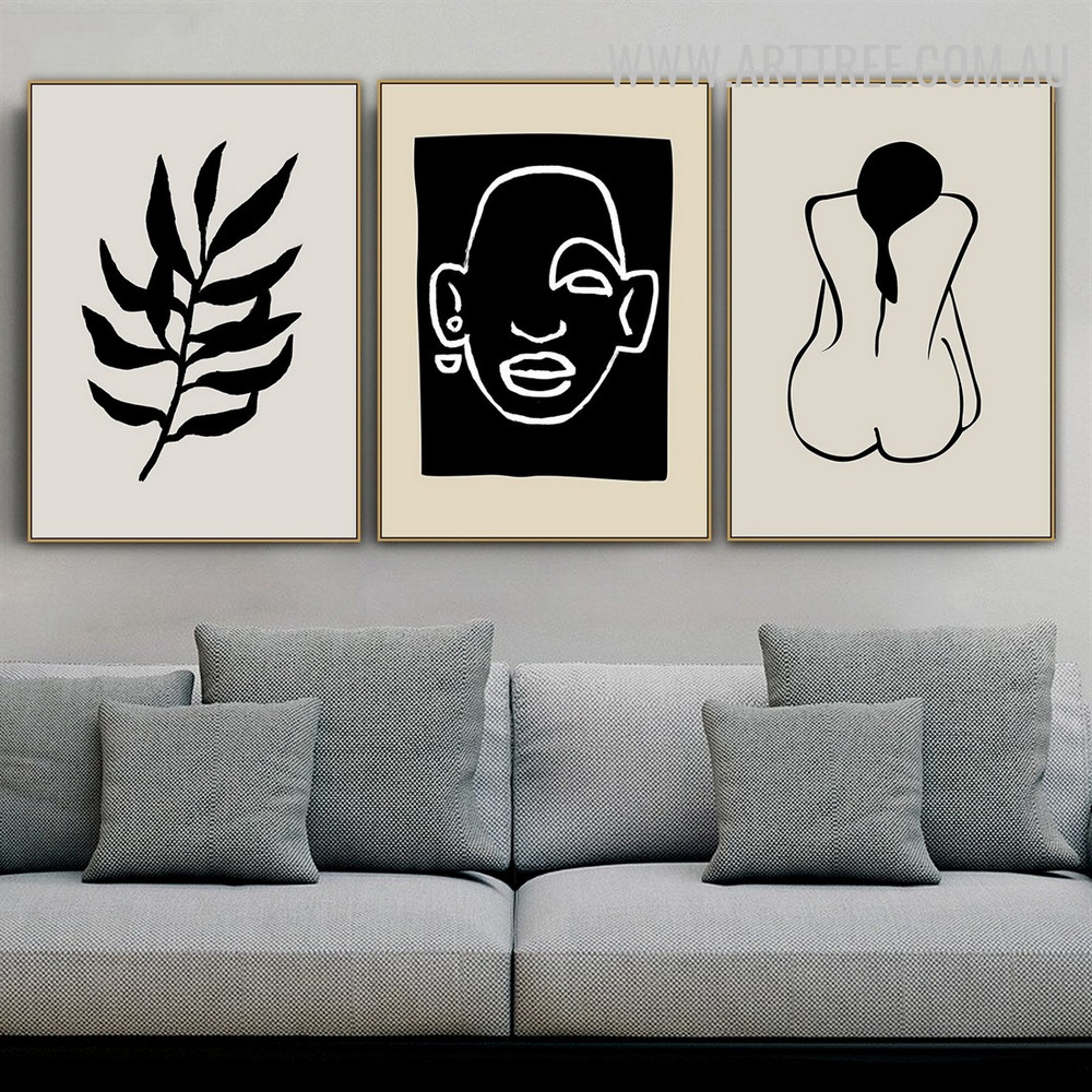 Black Leafage Nude Woman 3 Piece Abstract Scandinavian Floral Painting Pic Canvas Print for Room Wall Ornament
