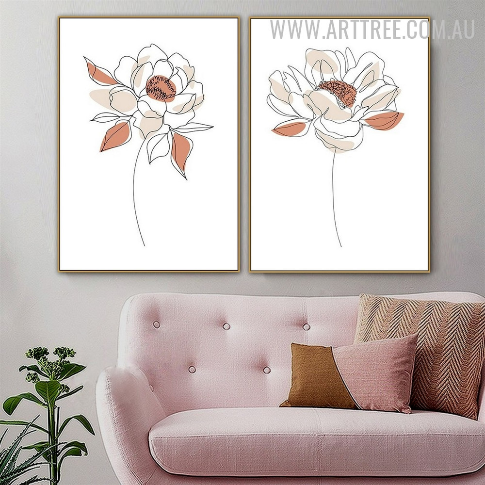 Peony Blossom 2 Piece Scandinavian Painting Photograph Abstract Floral Canvas Print for Room Wall Getup