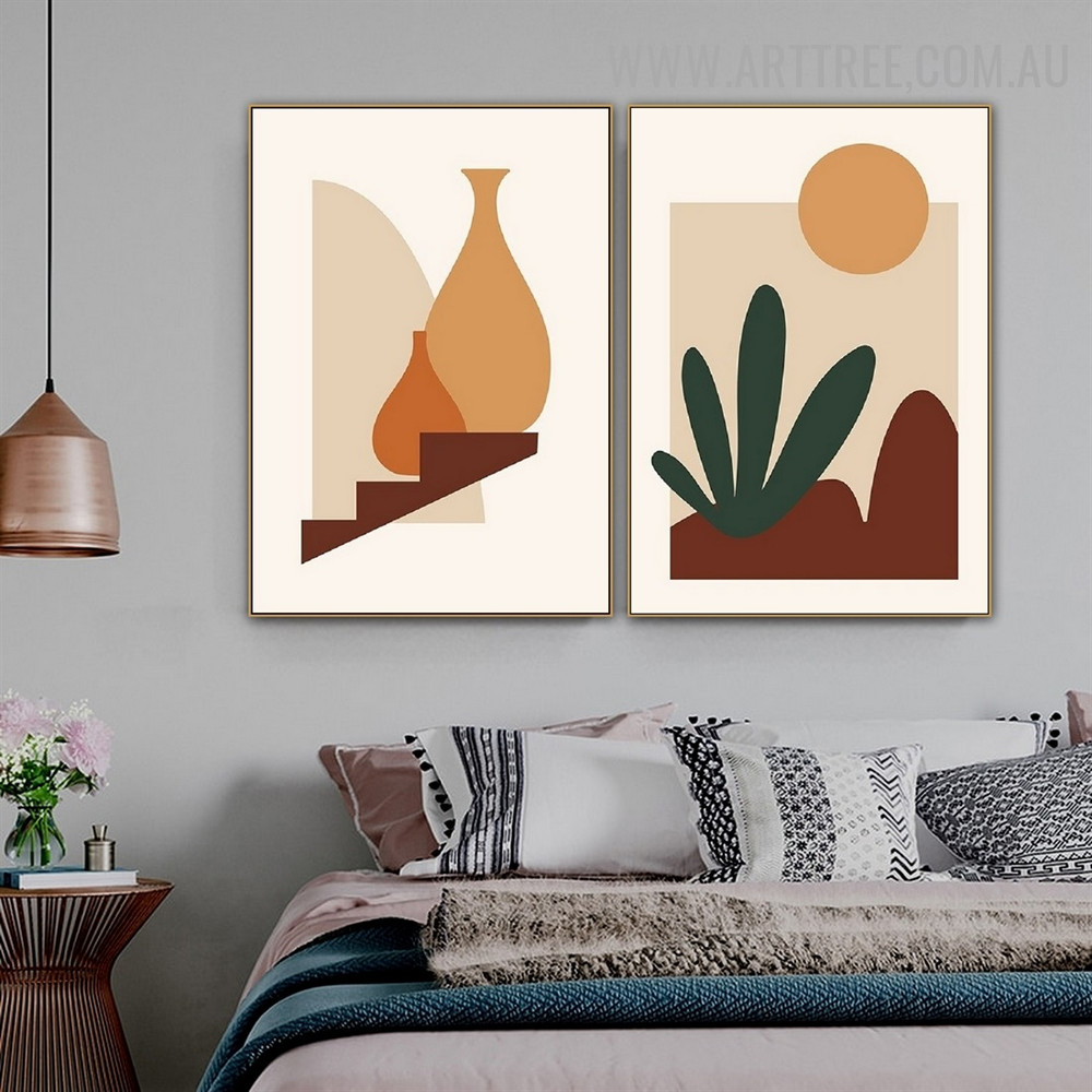 Hills Sun Pots 2 Piece Abstract Landscape Scandinavian Art Photograph Canvas Print for Room Wall Decoration