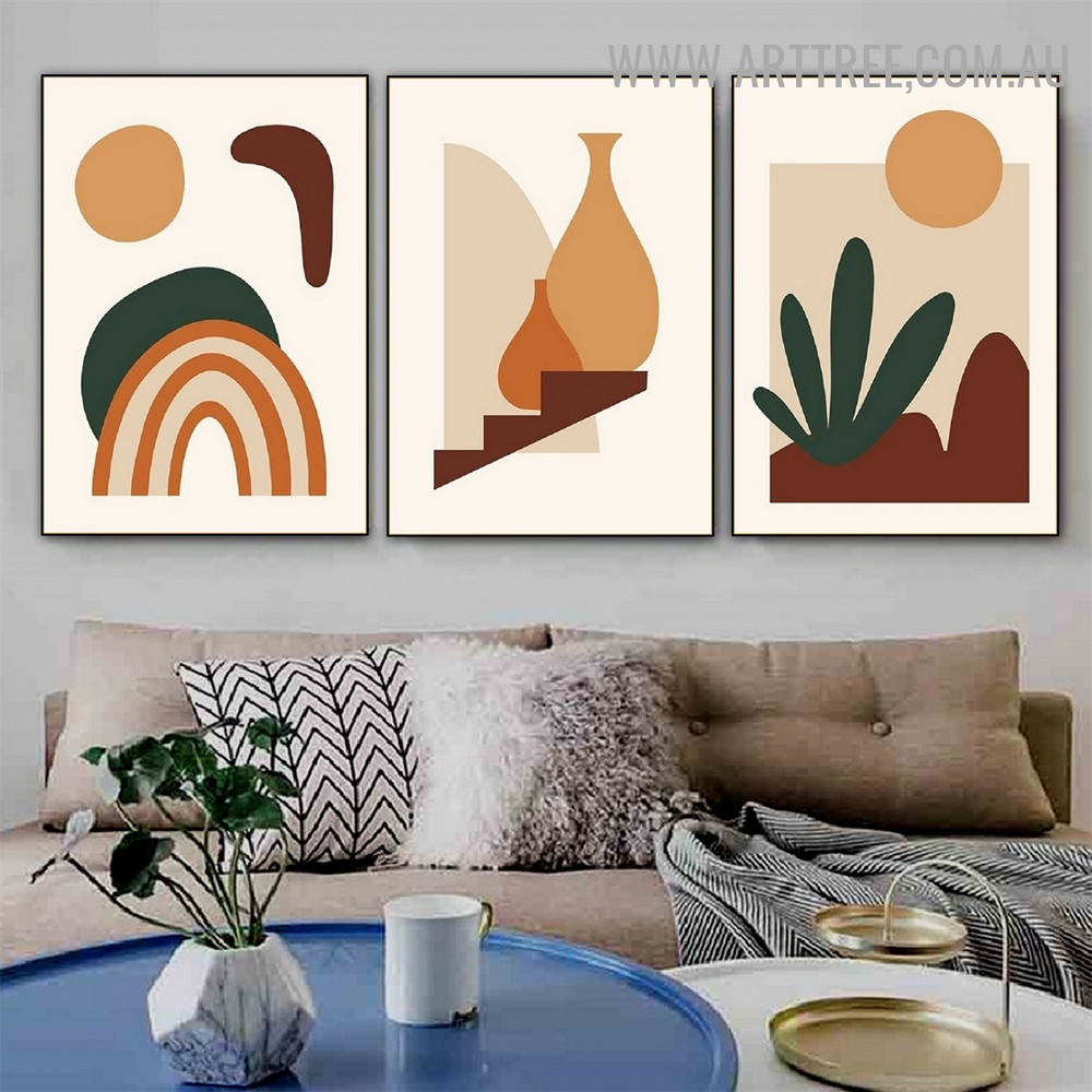 Rainbow Mountain Abstract 3 Piece Scandinavian Landscape Wall Painting Picture Canvas Print for Room Garnish
