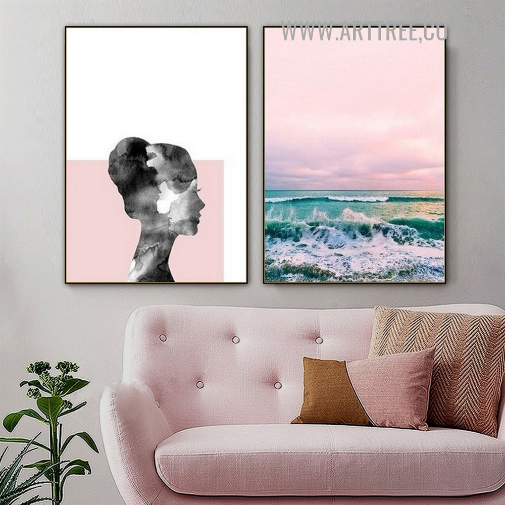Seaside Sky Woman Face 2 Piece Landscape Abstract Modern Painting Image Canvas Print for Room Wall Moulding