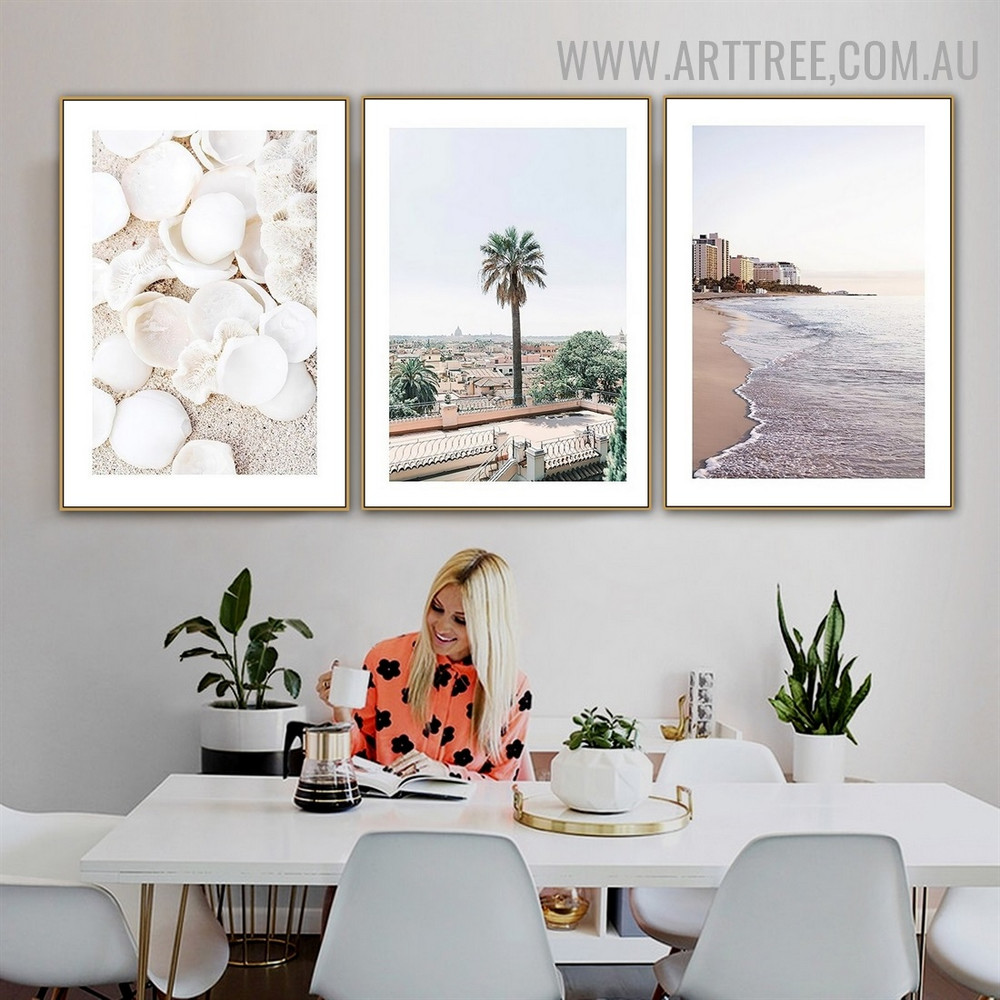 Seashells Trees 3 Piece Abstract Landscape Artwork Picture Contemporary Canvas Print for Room Wall Getup