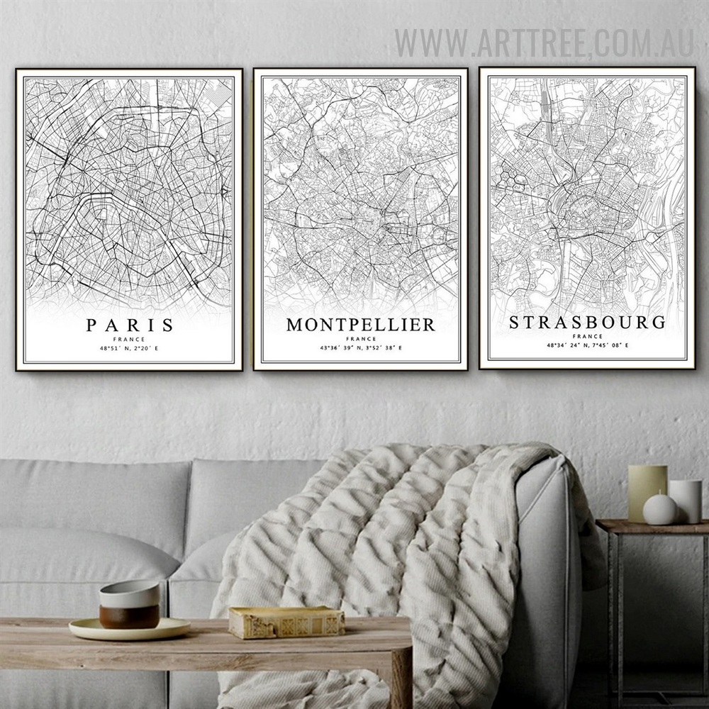 Montpellier Map France Vintage Painting Pic 3 Panel Abstract Canvas Print for Room Wall Decoration