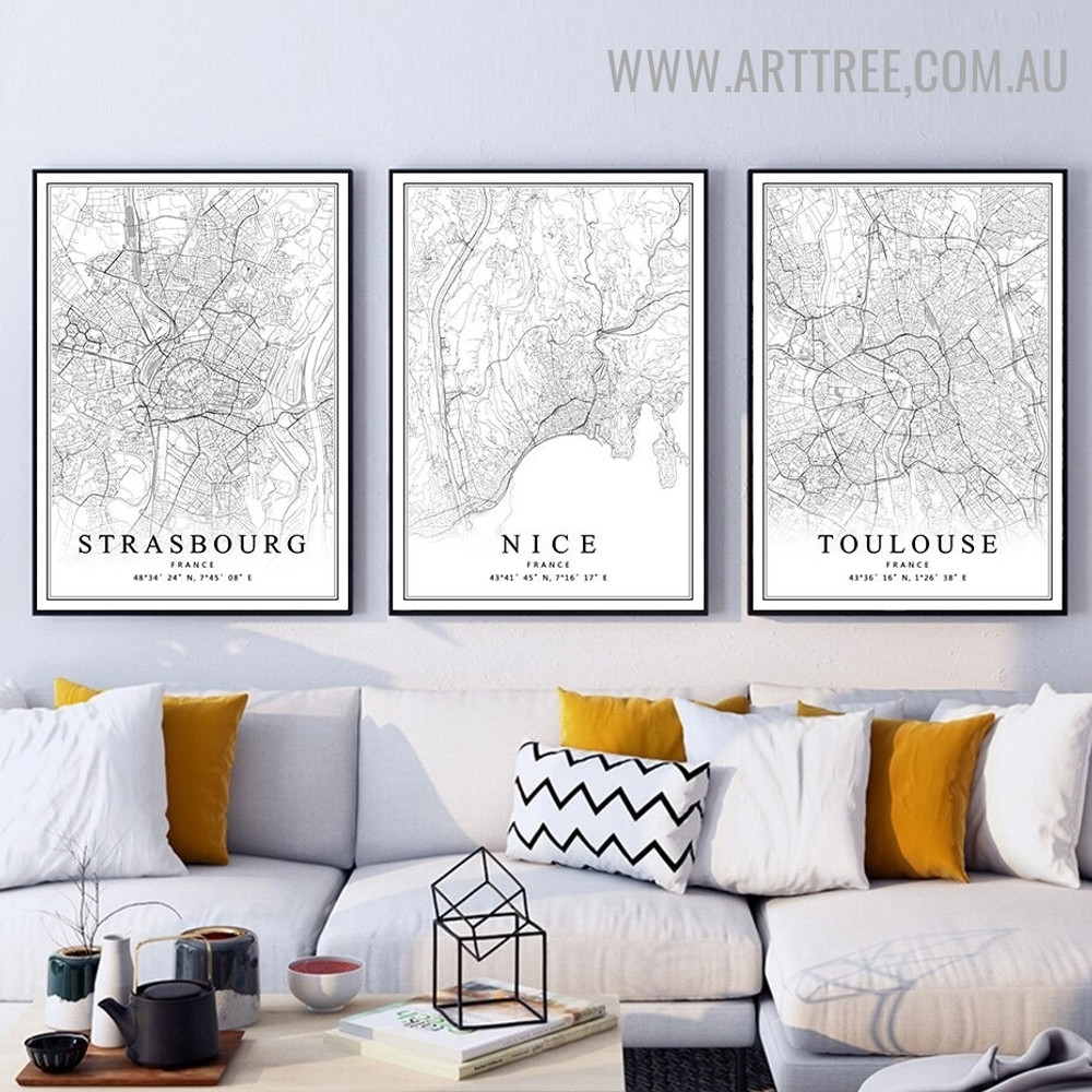 Nice France Toulouse 3 Piece Vintage Abstract Map Artwork Photo Canvas Print for Room Wall Ornament
