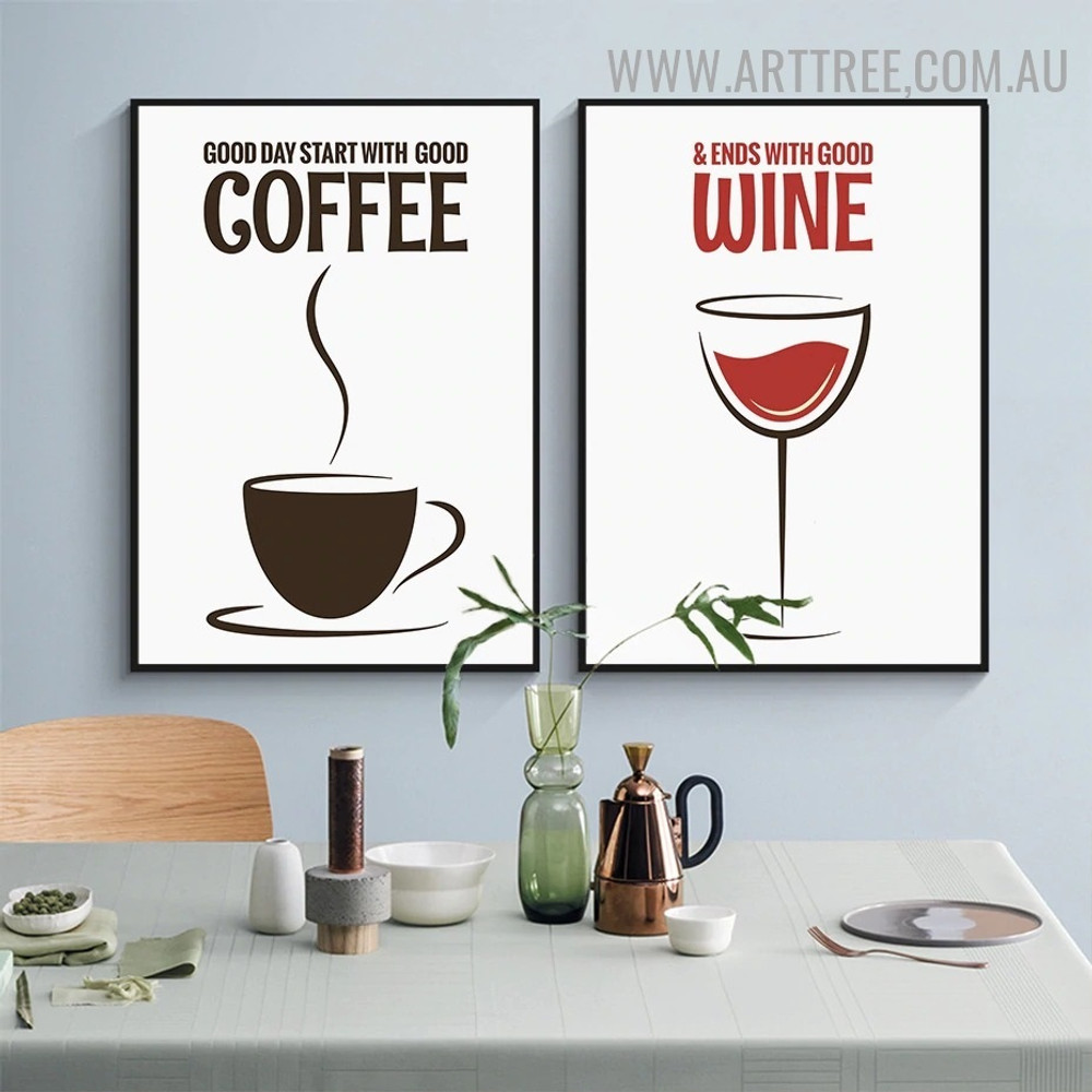 Coffee Cup Wine Abstract Art Pic 3 Piece Quotes Modern Canvas Print for Room Wall Arrangement