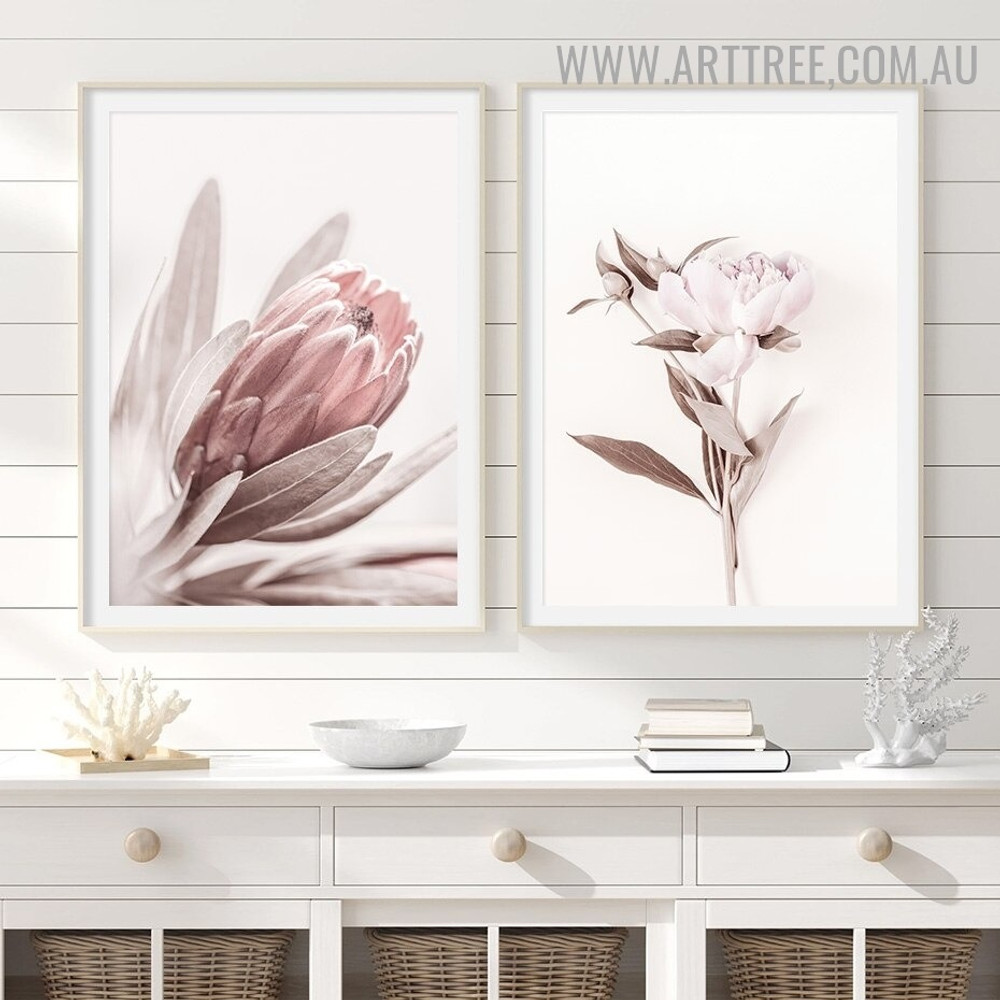 Peony Blossom Abstract Modern Artwork Photo 2 Piece Floral Canvas Print for Room Wall Equipment