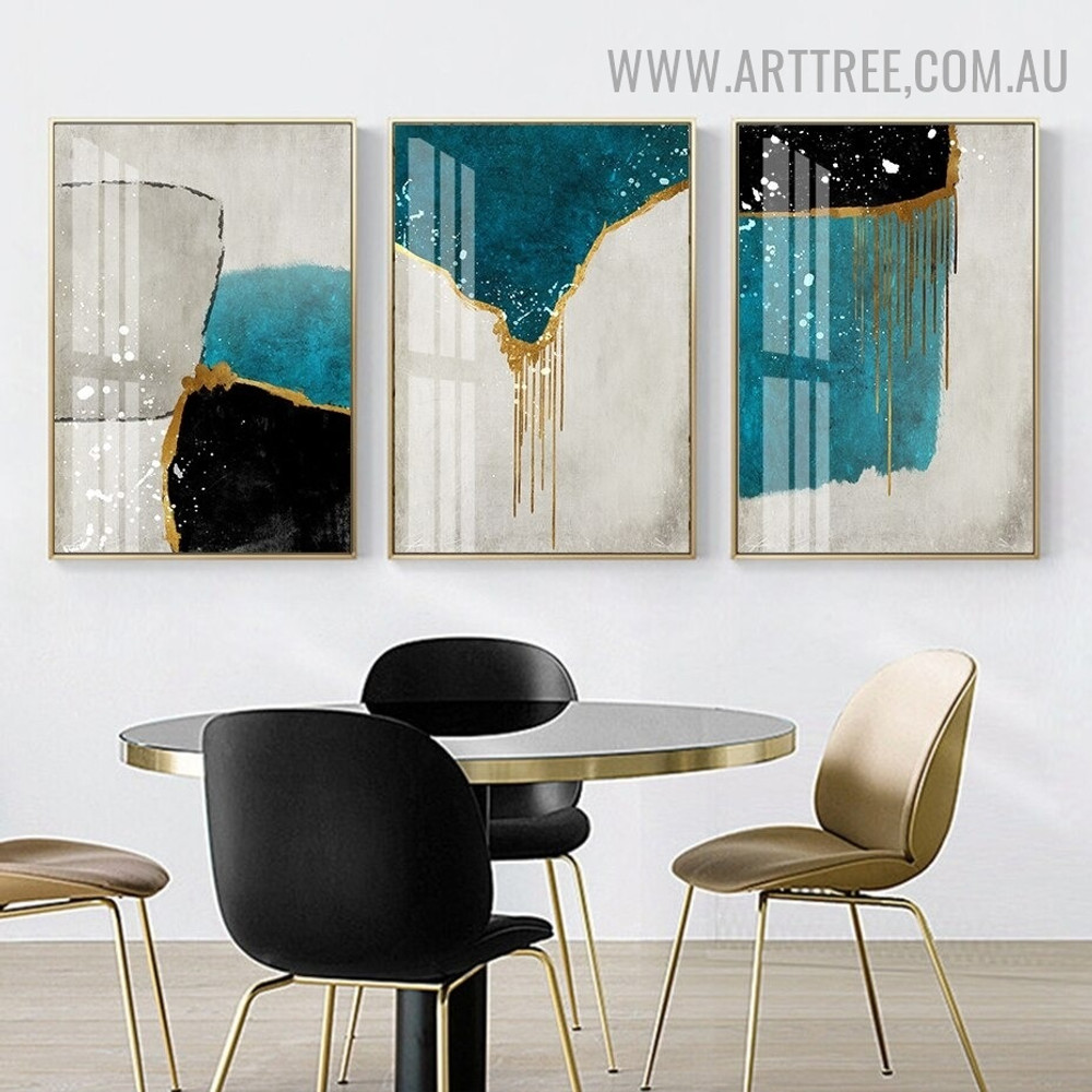 Hued Line Blots Spot 3 Piece Abstract Artwork Modern Photo Geometrical Canvas Print for Room Wall Getup