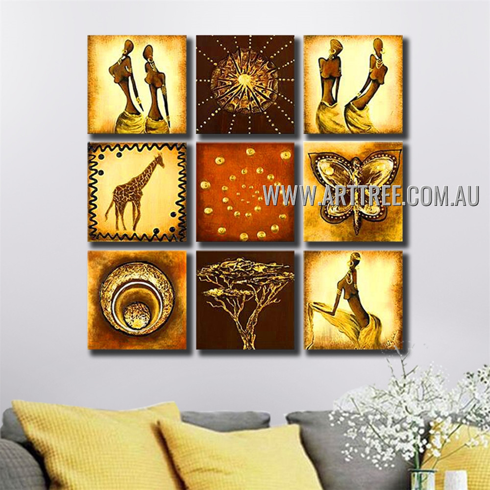 Swirl Abstract Vintage Handmade Artist Heavy Texture 9 Piece Split Oil Paintings Wall Art Set For Room Tracery