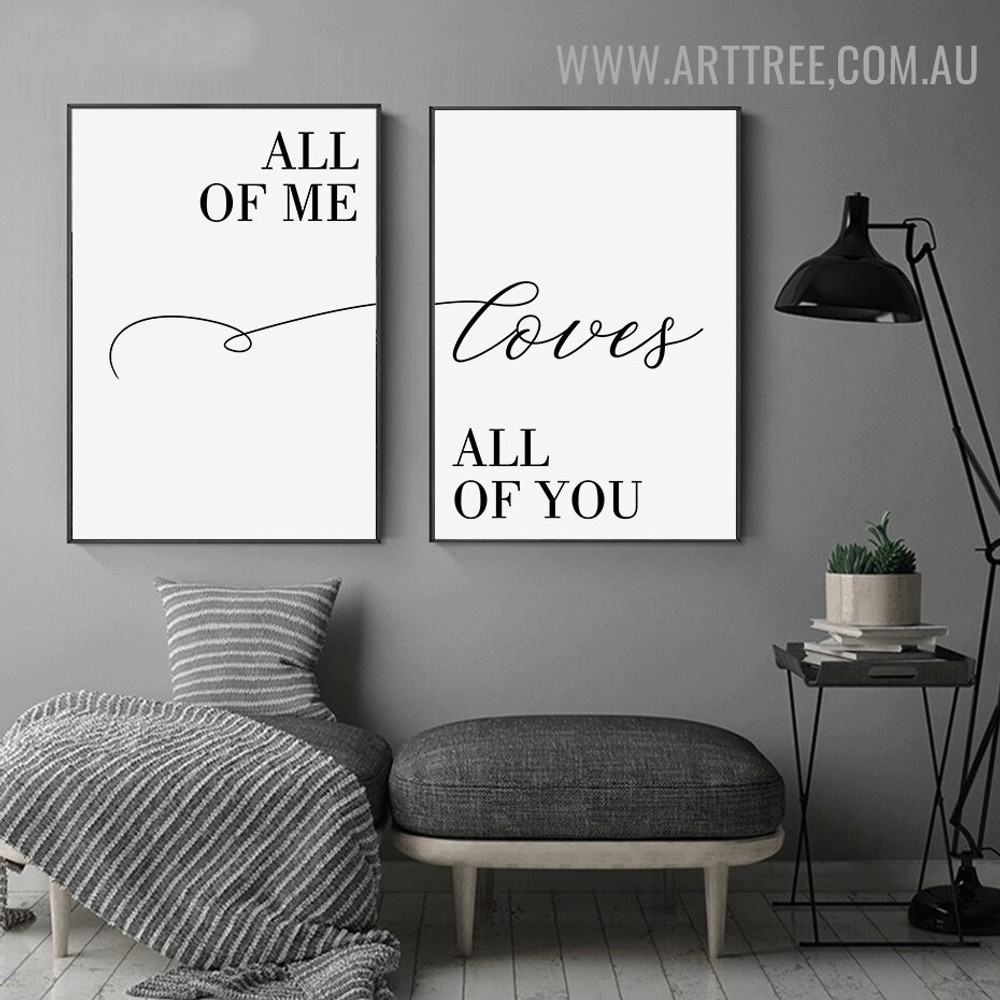 All Of Me 2 Piece Modern Wall Art Quotes Pic Abstract Canvas Print for Room Drape