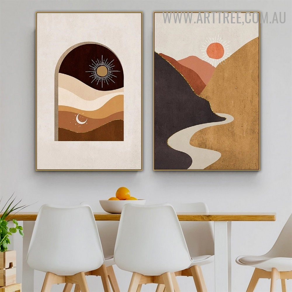Mount River Moon Naturescape Abstract Scandinavian Painting Picture 2 Panel Canvas Print for Room Wall Onlay
