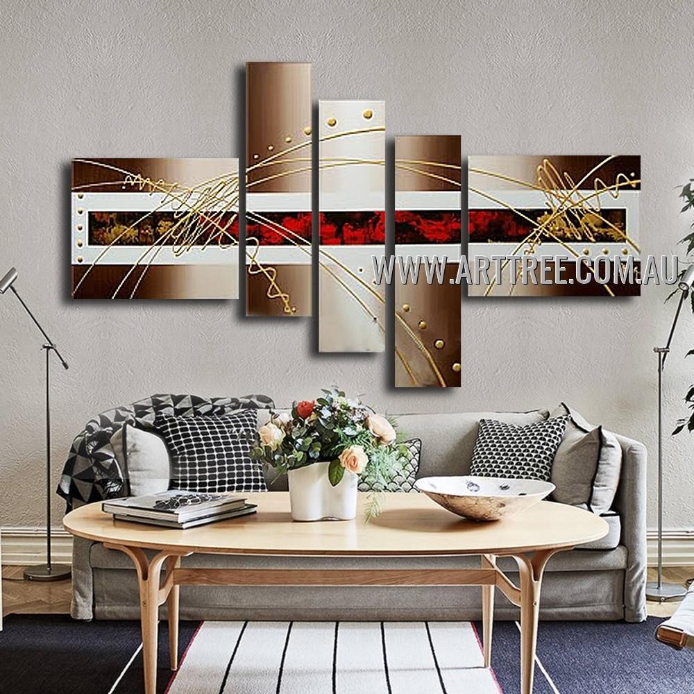 Twisting Streaks Abstract Handmade 5 Piece Split Oil Painting For Room Drape