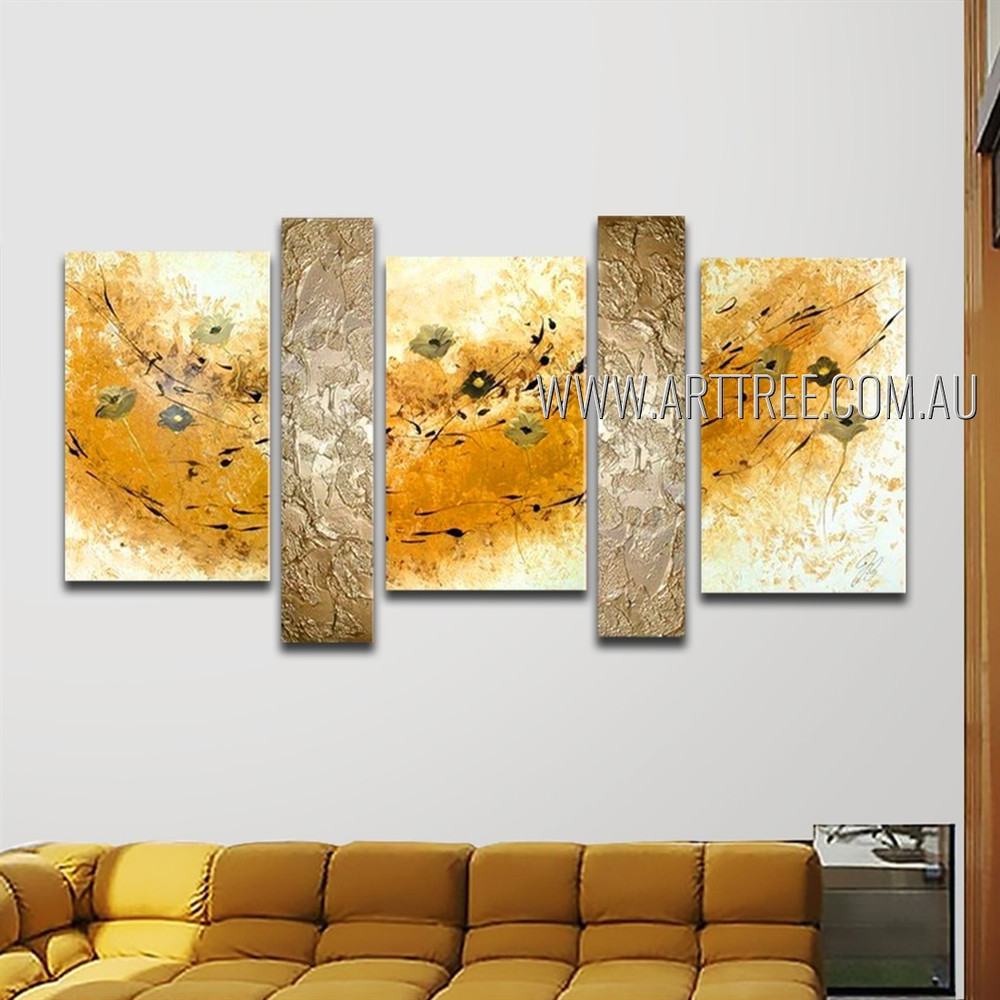Multicolor Stains Abstract Modern Framed Handmade Artist 5 Piece Split Canvas Paintings Wall Art Set For Room Finery