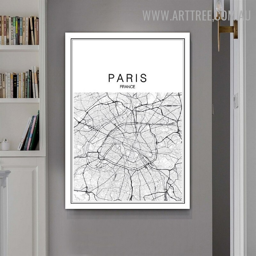 Paris France Map Lines Abstract Map Modern Painting Pic Canvas Print for Room Wall Disposition