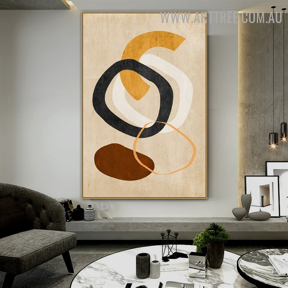 Bold Line Rings Spot Abstract Geometrical Pattern Artwork Image Scandinavian Canvas Print for Room Wall Finery