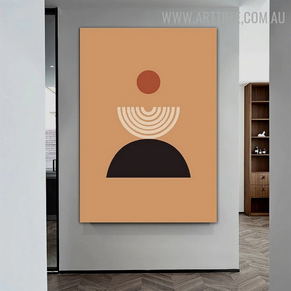 Half Alignment Orb Circle Abstract Geometrical Scandinavian Artwork Image Canvas Print for Room Wall Equipment