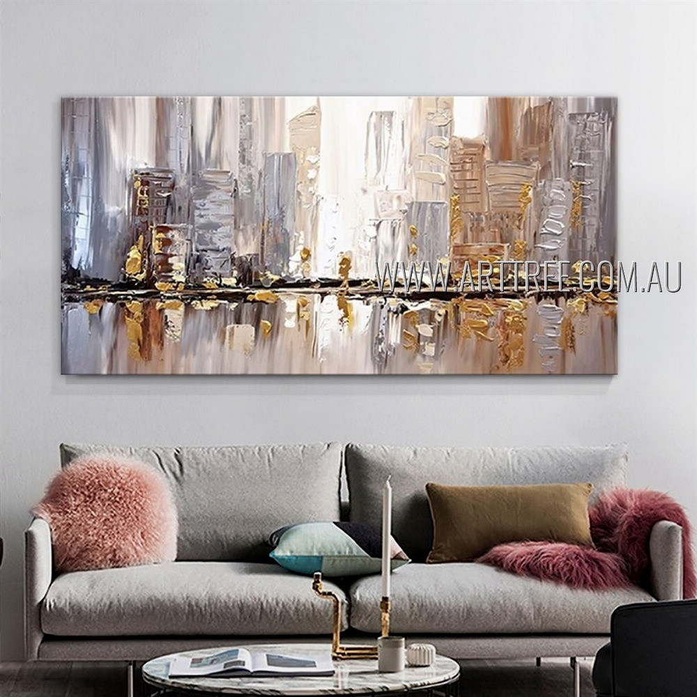 Variegated Edifices Cityscape Heavy Texture Artist Handmade Framed  Modern Abstract Art Painting For Room Wall Decor